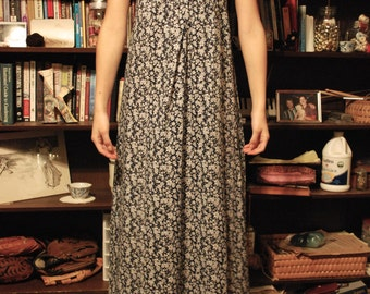 70's Navy and White Vintage Maxi