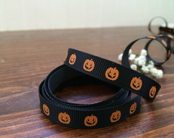 "3/8"" Jack-O-Lantern  Grosgrain Ribbon - Halloween Ribbon - Halloween Decor & Accents - Pumpkin - 5-50 yards - HBC101013-03850207"