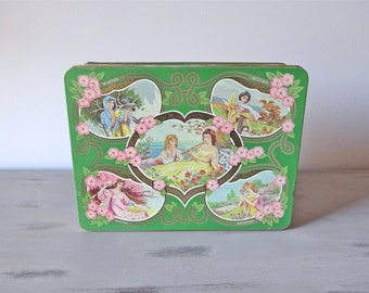 Vintage Tin box.  Green rectangular tin box.