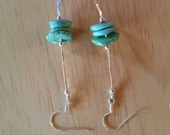 Hand Crafted Sterling Silver and turquoise Magnesite Dangle Earrings