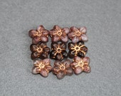 Translucent Matte Mixed Pressed Floral Beads, 13x14mm Flower Czech Glass Beads, Opaque Bead, Rose Bronze Detail, Jewelry Making, Craft