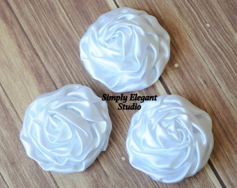 "White Rolled Shiny Rosettes, 3"" Fabric Flowers, Headband Flowers, DIY Craft Flowers"
