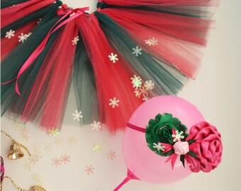 Baby Green/Fuschia Tutu~ Baby Fuschia Headband~ Christmas baby girl set~ newborn tutu~ tulle skirt~ flower baby girl tutu~ newborn headband