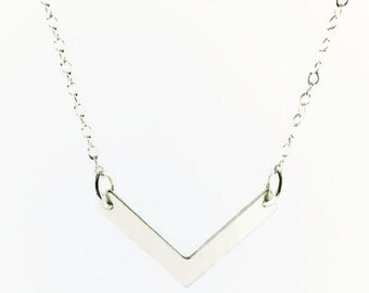 Sterling Silver Chevron Pendant Necklace, Geometric Shape Necklace, Chevron Jewelry, V Shape Pendant Necklace, Dainty Silver Necklace