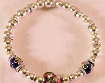 Cloisonne beads silver tone bead bracelet.