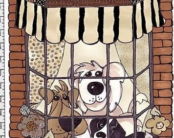 Doggie Delight - Doggies in the Window - Panel - Loralie Harris Designs - Cute Dogs