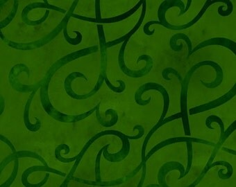 Green Scroll Flannel - BTY - In the Beginning Fabrics