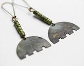 Simple earrings Minimalist earrings Copper earrings Natural stone jewelry Tribal Gypsy Lightweigt earrings Dark metal Ethnic jewelry Boho