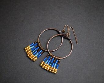 Hoop earrings Metal hoops Native American Boho earrings Boho jewelry Gypsy earrings Blue earrings Golden earrings Brown Bohemian Handmade