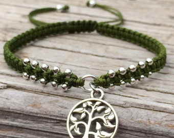 Tree of Life Bracelet, Adjustable Cord Macrame Friendship Bracelet, Macrame Jewelry, Gift for Her, Tree of Life, Nature Bracelet, Boho