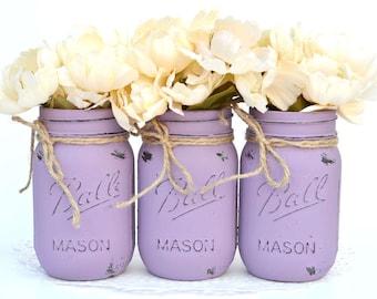 Painted Mason Jars, Purple Mason Jar, Painted Jars, Purple Centerpiece, Purple Dorm Decor, Distressed Jars, Mason Jar Decor, Spring Decor