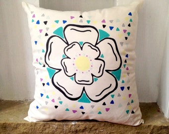 Yorkshire Rose Cushion, Yorkshire Home Gift, White Rose Gift,