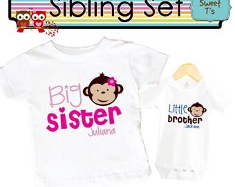Big Sister Shirt SET Little Brother Monkeys Sibling Personalized Big Sister Big Brother Shirts bodysuit SET