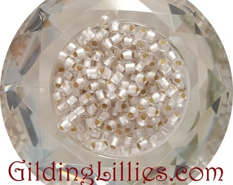 """6"""" Toho 6/0 Round #21F Crystal Silver Lined Matte Beads"""