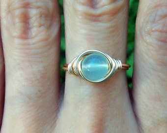 Peruvian Aqua Chalcedony Round Gemstone Wire Wrap Ring Blue on 14k gold filled wire Sterling Silver Rose Gold Filled Bohemian