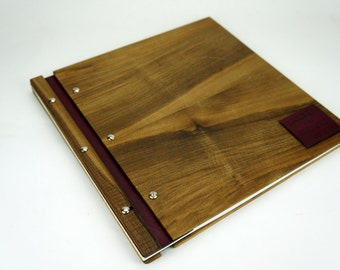 12 x 12 Walnut Wood Photo Album - Scrapbook Photo Album - Baby Photo Album - Scrapbook Album - Wedding Guest Book - Personalized