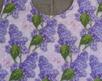 Lilacs - Large Adult Bib Clothes Shirt Protector Saver, Women Special Needs Pregnancy Make-up Bib