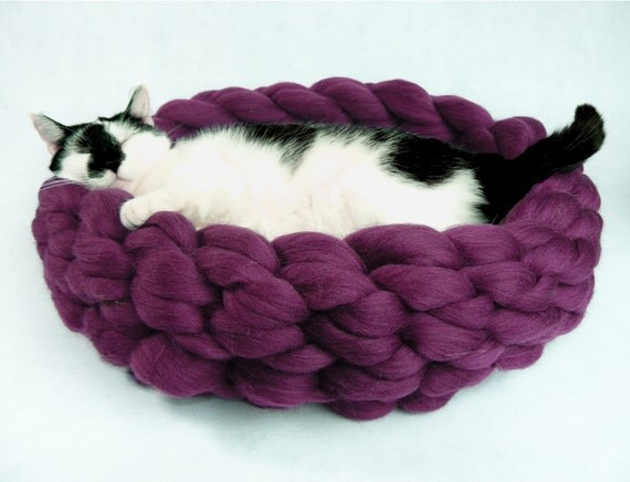 soft purple cat bed