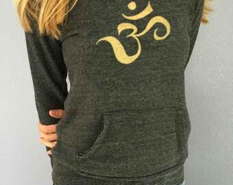 Gold Om Love Cozy Eco Fleece Sweatshirt Alternative Maniac