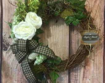 front door wreath, all season wreath, spring wreath, summer wreath, floral wreath, large wreath, indoor wreath, outdoor wreath, fall wreath