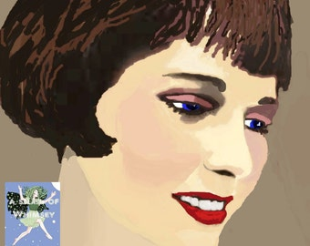 Louise Brooks 1920's Silent Screen Film Star /Giclee Print & Trading Cards, Art Nouveau style