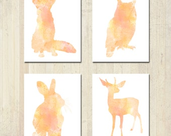 Woodland Nursery Art - Watercolor Animals - Nursery Decor - Nursery Art - Woodland Nursery - Woodland Theme - Woodland Animals - Forest Art