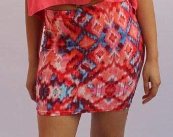 Colorful Stretch Mini Skirt