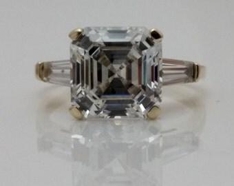 4.50 CTW. Asscher Cut Engagement Wedding Ring 14K Yellow Gold +FREE GIFT