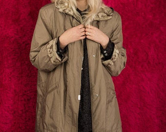 1990's Adorable Vintage Beige Parka With Floral Lace Details Inside Of The Hood And Sleeve/FREE SHIPPING!