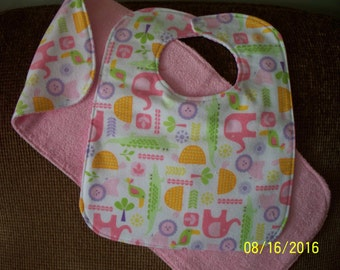 Bib & Burp Rag Set; Jungle Animals
