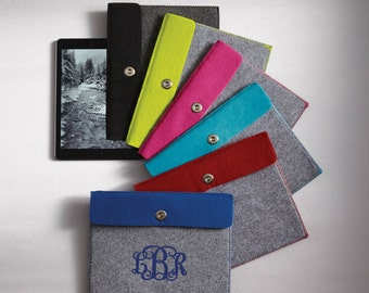 Custom Monogram Tablet Felt Cover Case Sleeve- Apple Air iPad Surface Samsung Tab Perfect Gift