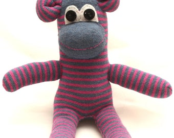Pink and Blue Striped Sock Monkey