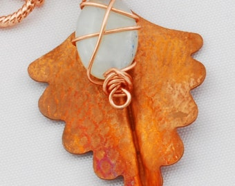 Necklace!  Copper Leaf Pendant with Amazonite