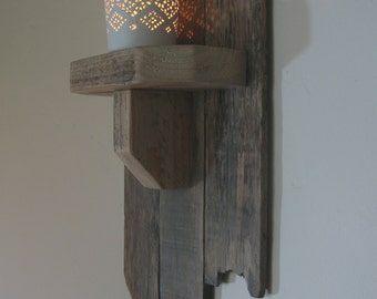Wall mounted reclaimed wood candle/tealight holder wall sconce