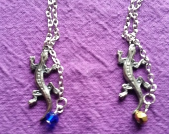 Lovely Lizard Pendant and Necklace Chain with Blue or Gold Gem in a Lovely Gift Bag