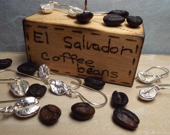 Coffee Bean Solid Sterling Silver Earrings