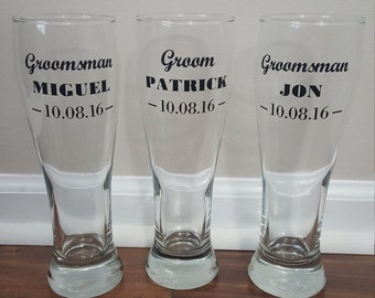 Wedding Beer Glasses, Groomsmen Beer Glasses, Groomsmen Gifts, Bachelor Party, Pilsner Glasses, Beer Glasses, Beer Mugs, Pub Glasses