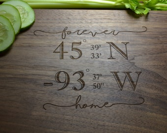 Real Estate Closing Gift / Cutting Board / Great for a wedding gift / Housewarming Gift / Gift for New Homeowner / Longitude and Latitude