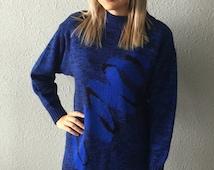 Vintage 1980's Mock Turtleneck Sweater Dress