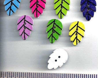 Wooden LEAF Buttons  - LEAF LEAVES Wood Shaped Buttons  - 2 Hole Flat (no shank) - Sew Through - Painted