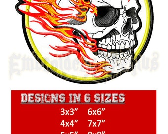 Skull Beast Embroidery Design (6 sizes) Skull in Flames Beast Motorcycle Patch Byke