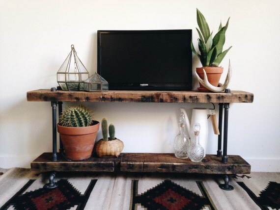Reclaimed Barn Wood Industrial Pipe Console Table Shoe Rack