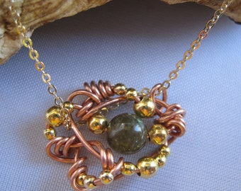 Labradorite Pendant, free form wire wrapped pendant, one of a kind artisan jewelry
