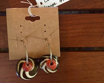 Kenyan etched bone and coral earrings