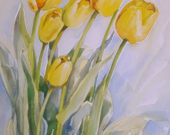 Bright yellow tulips, original watercolor, 15x11in, not a print