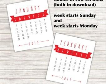 2017 Desk Calendar for Jewel Case - Printable PDF, Instant Download