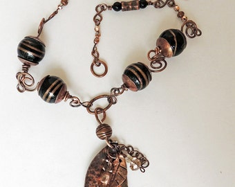 Copper WIred Textured Pendant with Handmade Chain