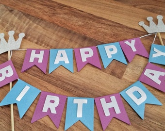 Happy Birthday Cake Bunting, Purple and blue Cake Bunting,  Crown cake topper, Cake Flags, Cake Topper, Birthday cake Topper