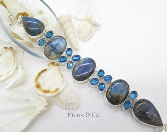 Blue Fire Labradorite and Blue Topaz Sterling Silver Bracelet