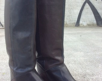 "Vintage ""Enzo"" Brown & Black Colorblock Knee-High Riding Boots, Size 7"